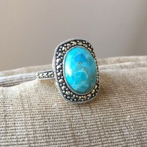 💝Sale💝Elegant turquoise and marcasite ring